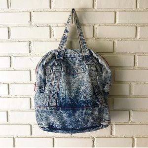 Vintage Acid Wash Denim Tote Bag / Overnight Bag